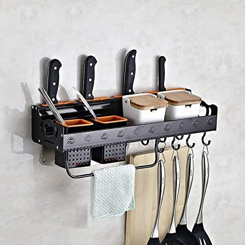 AEIOU Sy50cm 2 Cups Kitchen Multi-function Wall-mounted Storage Rack Holder (Black) (Color : Black)