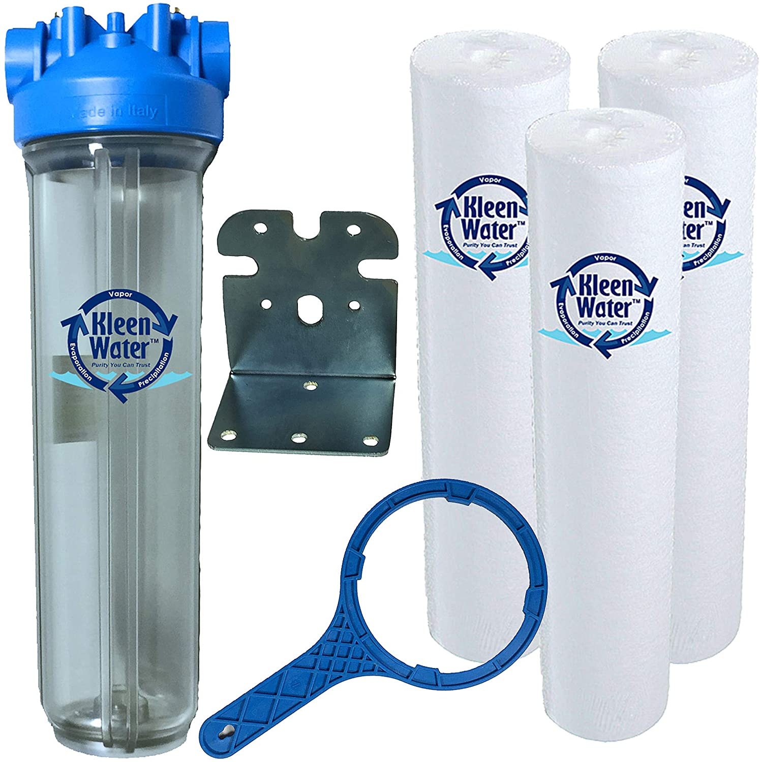 KleenWater Whole House Water Filtration System, Premier 4520 Water Filter, Dirt Rust Sediment Removal Cartridges