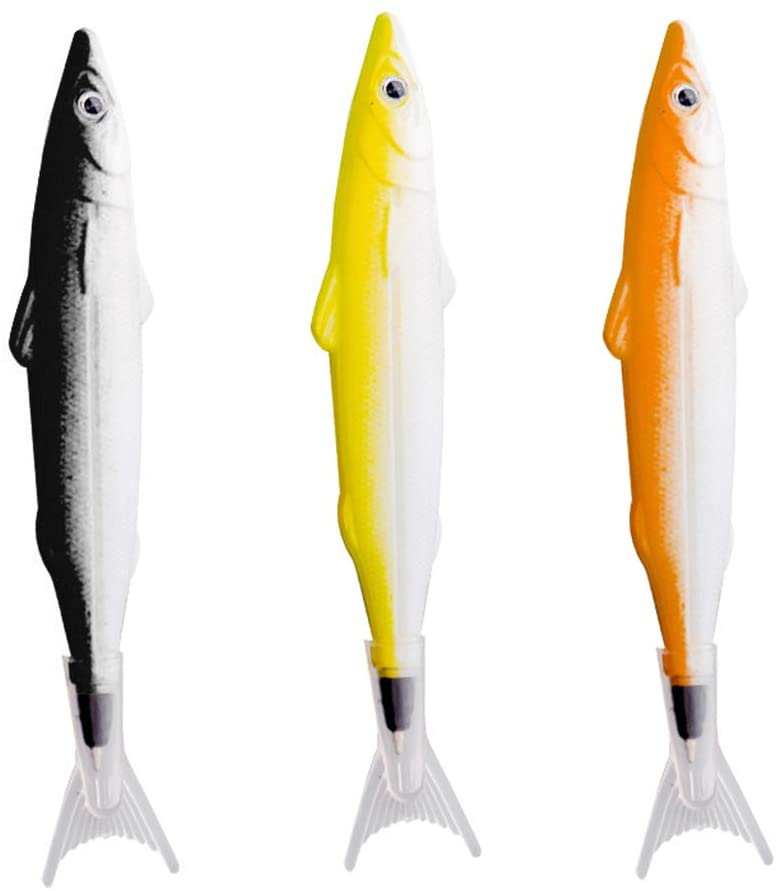 LLtidmsWL Fish Shape Ballpoint Ink Filled Gel Pen Writing Marker School Office Stationery Random Color 3pcs