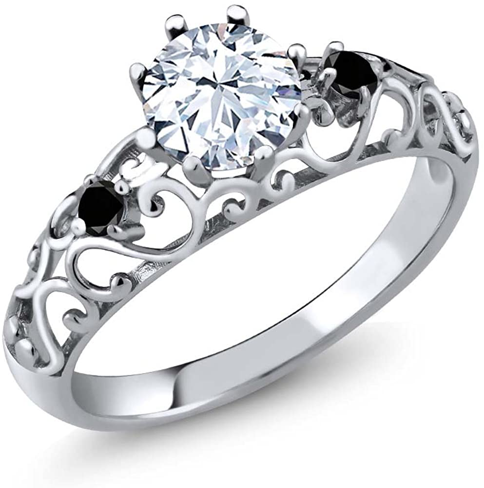Gem Stone King Sterling Silver White Created Sapphire & Black Diamond Womens' Ring 1.31 cttw (Available 5,6,7,8,9)