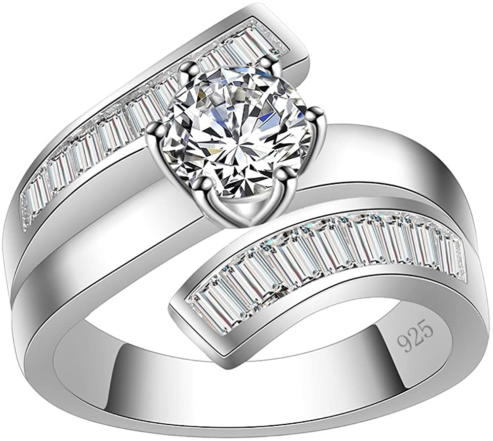 Lavencious Luxury Clear Baguette-Cut CZ Statement Ring Band 925 Sterling Silver for Wedding