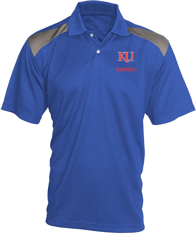 Old Varsity Brand NCAA Kansas Jayhawks Mens Pieced Panel Polo Shirt, X-Large, Royal/Red