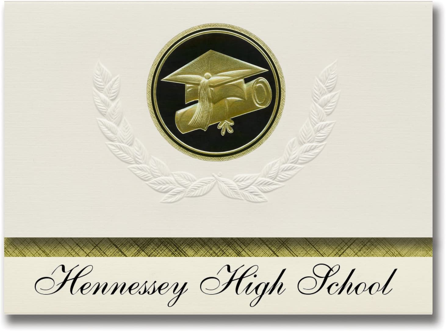 Signature Announcements Hennessey High School (Hennessey, OK) Graduation Announcements, Presidential style, Elite package of 25 Cap & Diploma Seal Black & Gold