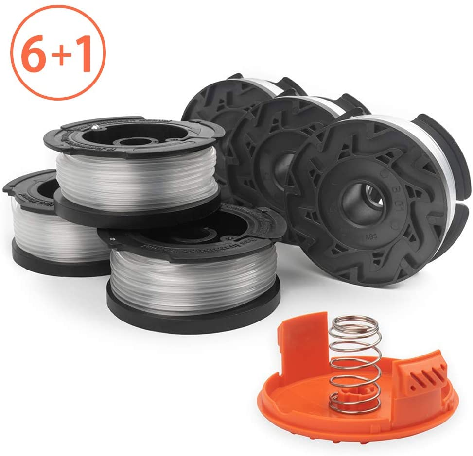 X Home Durable AF-100 Pre-Wound Spools and Cap Combo Set, Compatible with Most Black and Decker String Trimmers, Easy to Install, (6 x Spool + 1 x Cap)