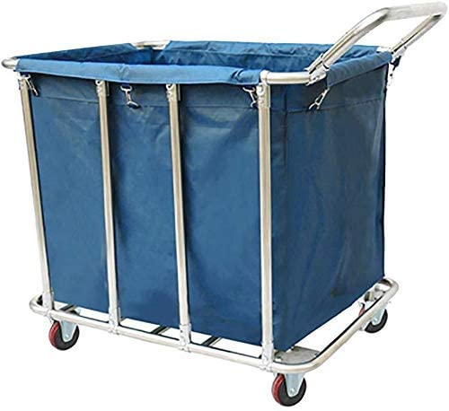 QNN Trolleys,Wheeled Laundry Cart, Household Storage Rack Trolley, Stainless Steel with a Handle Classified Car, Practical Style,Blue