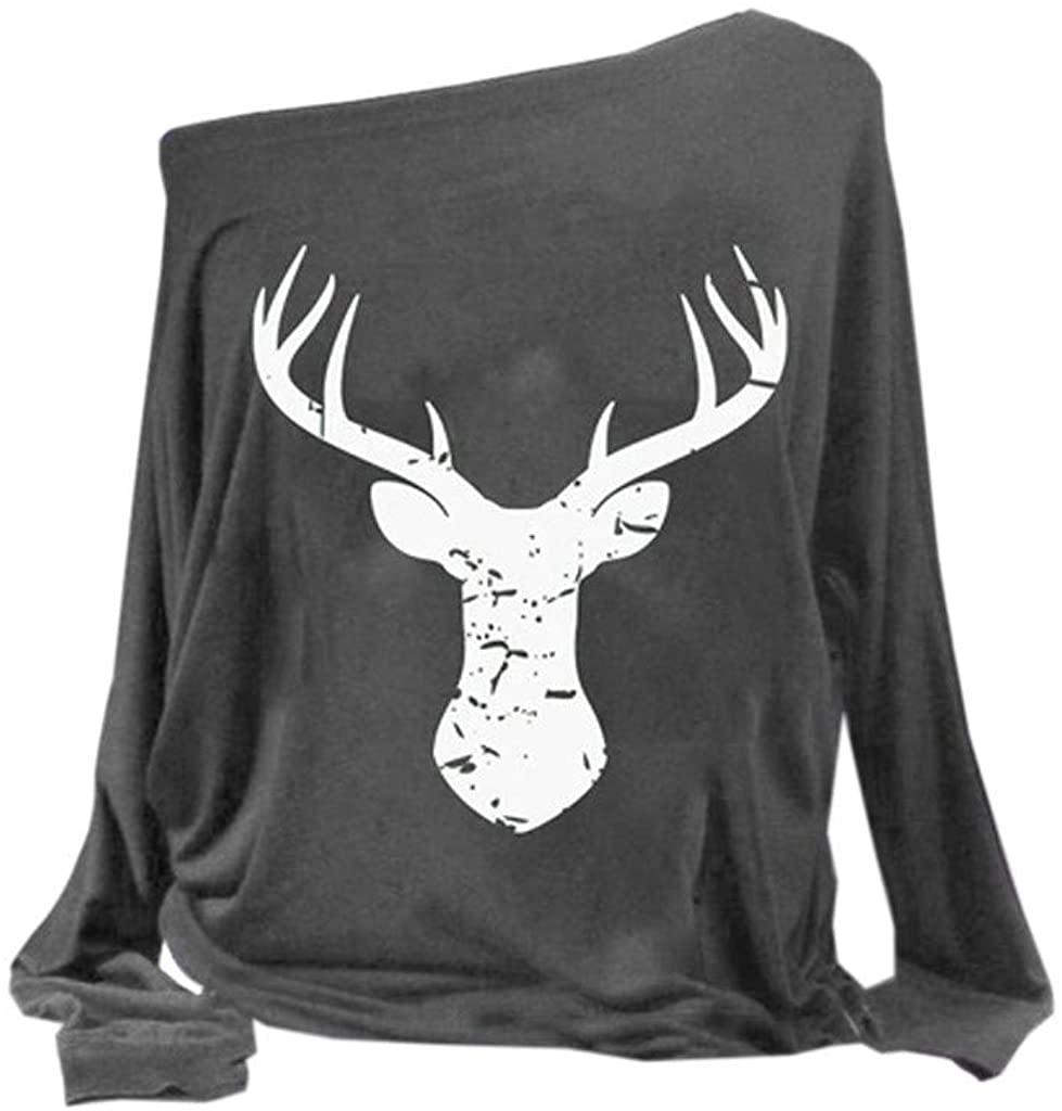 WINJUD Womens Tops Xmas Elk Print Street T Shirt Crewneck Long Sleeve Casual Pullover