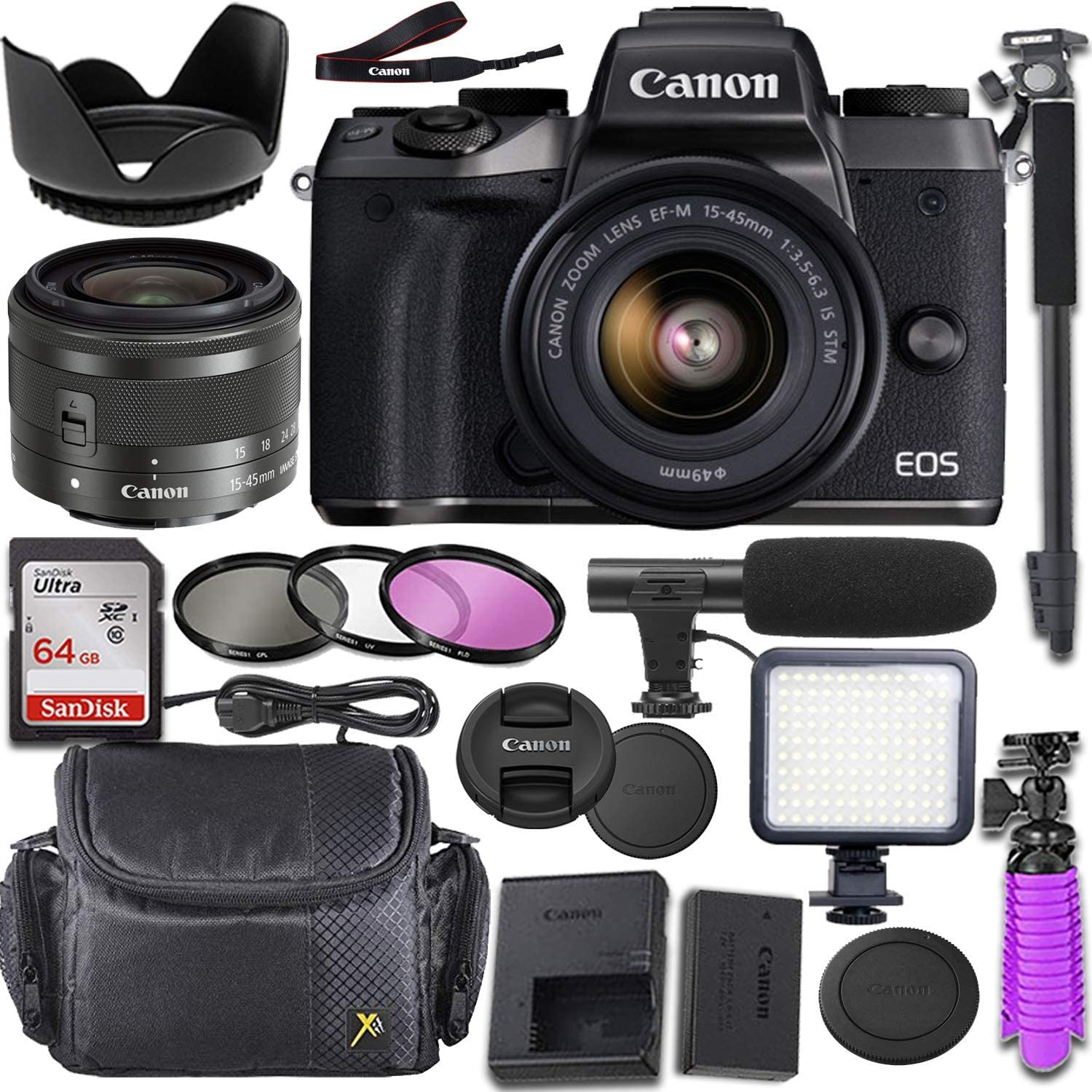 Canon EOS M5 Mirrorless Camera with Canon 15-45mm f/3.5-6.3 is STM Lens + Deluxe Video-Accessory Bundle (Renewed)