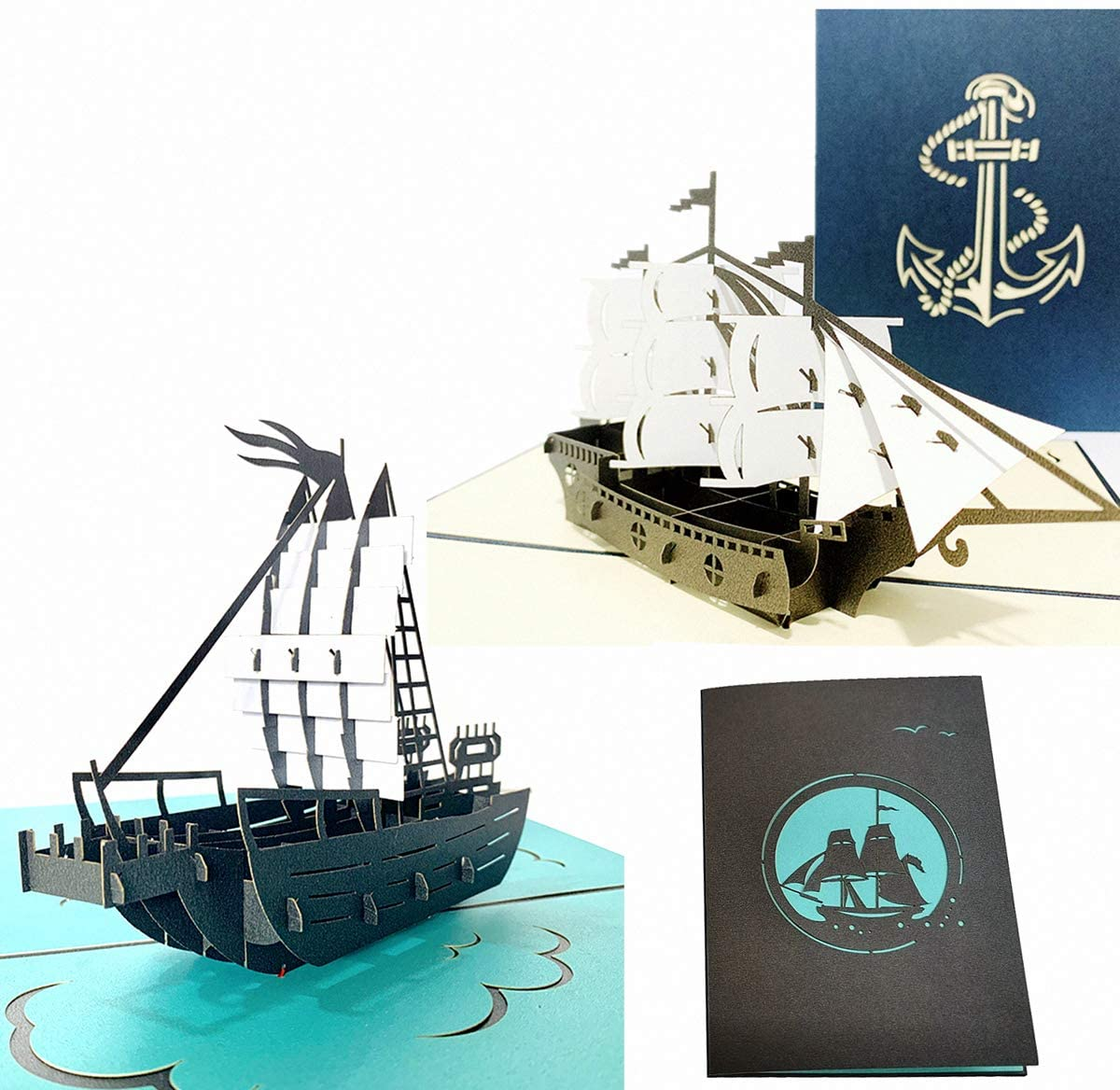 Set of 2 Sailing Boat Pop Up Cards Greeting Cards for Congratulation, for Special Day,Valentine's Day, Birthday or Wedding Congratulation, with Envelope (Mixing 2 styles)