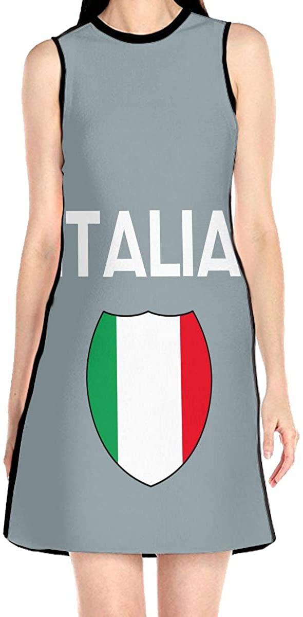 VJH-YY Italia Italy Italian Flag Women's Sleeveless Dress Casual Slim A-Line Dress Tank Dresses