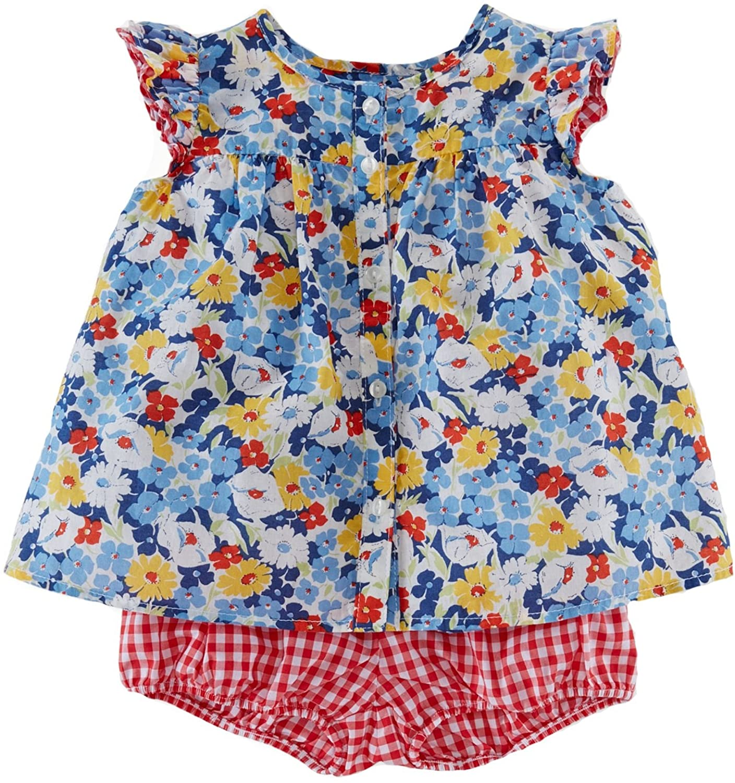 Ralph Lauren Baby Girls 2-Piece Floral Top & Shorts Set Blue Multi