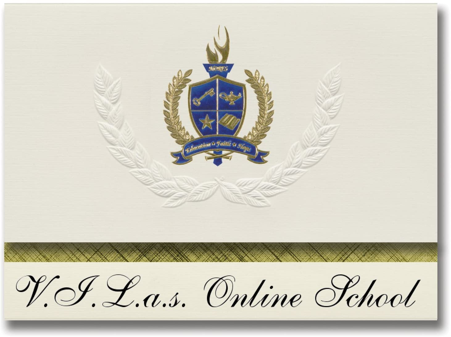 Signature Announcements V.I.L.a.s. Online School (Vilas, CO) Graduation Announcements, Presidential style, Basic package of 25 with Gold & Blue Metallic Foil seal