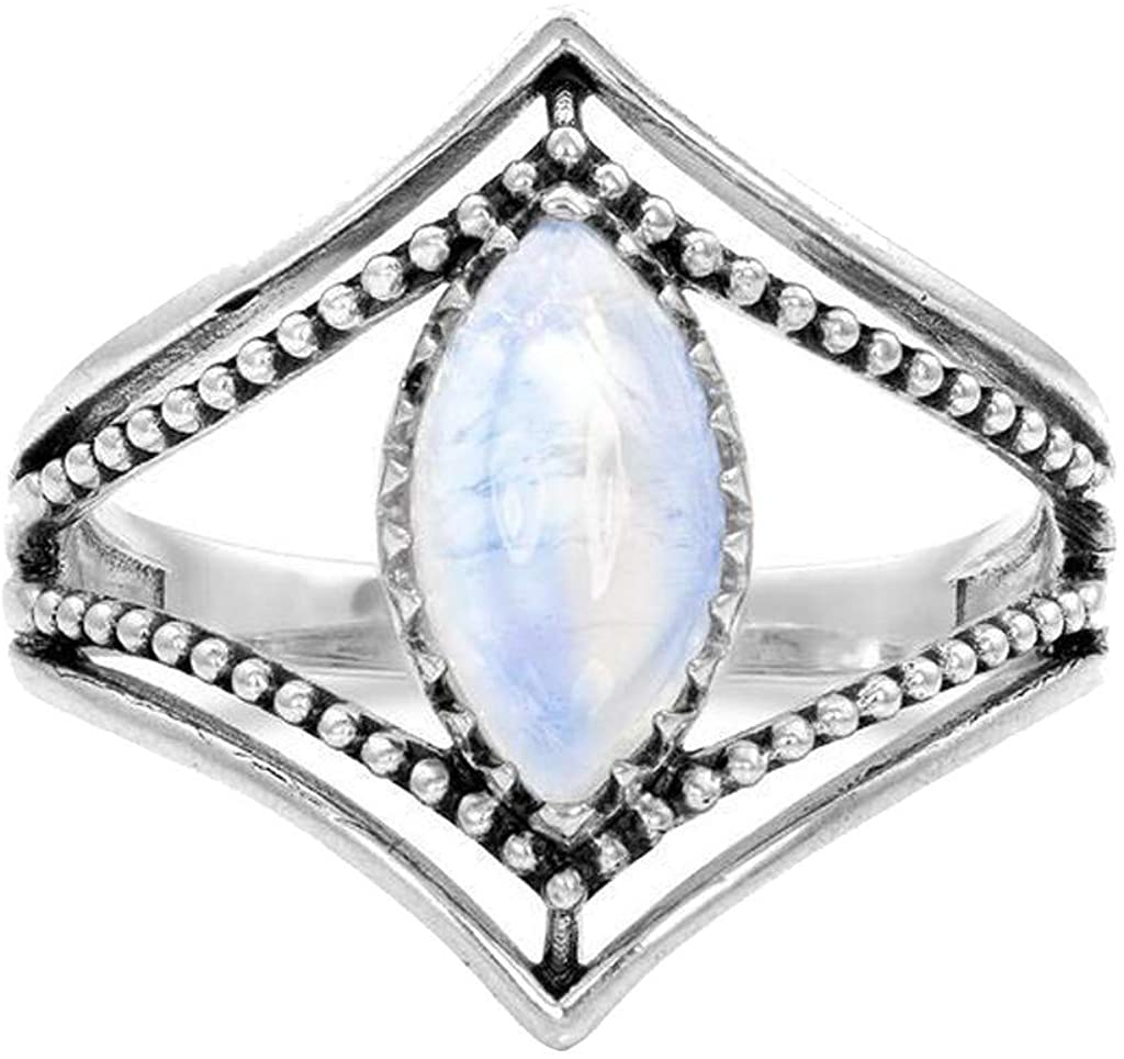 Vielgluck_Ring :) Women Sterling Silver Moonstone Promise Ring Cubic Zirconia Engagement Ring Gift Under 5 Dollars!!