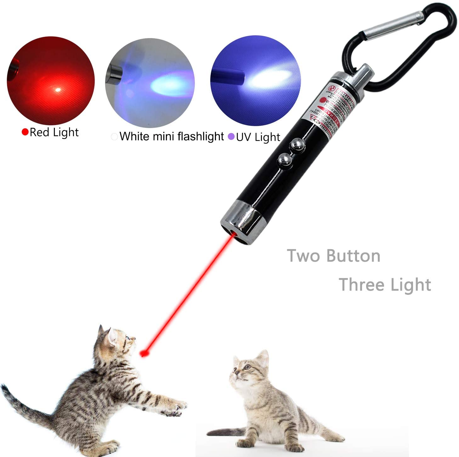 LiXiongBao Interactive Cat Toys, Cat Chaser Toy Pet Training Exercise Chaser Tool, 3 in 1 Cat Interactive Toys with Keychain for Kitty and Dogs