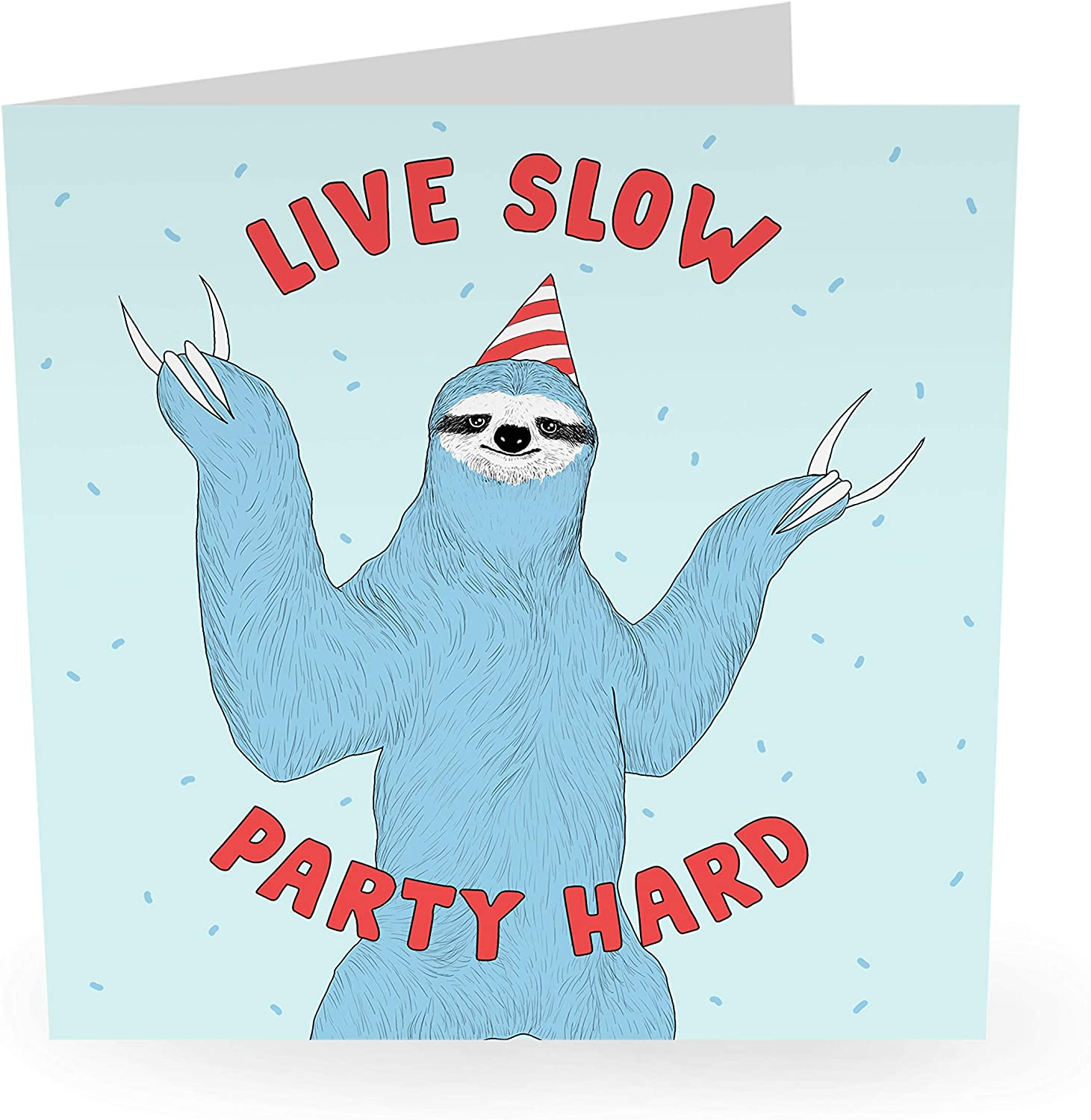 """Central 23 - Funny Animal Birthday Card - """"Live Slow Party Hard"""" - For Men & Women Him Her Boyfriend Girlfriend Wife Husband Fiance Relationship Love - Comes with Fun Stickers"""