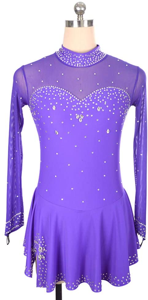 Figure Skating Dress Purple Women Girl Long Sleeve Ice Skating Dress Patchwork High Elasticity Training Competition Skating Wear Crystal Ice Skating Figure Skating Wear,Purple-Child8