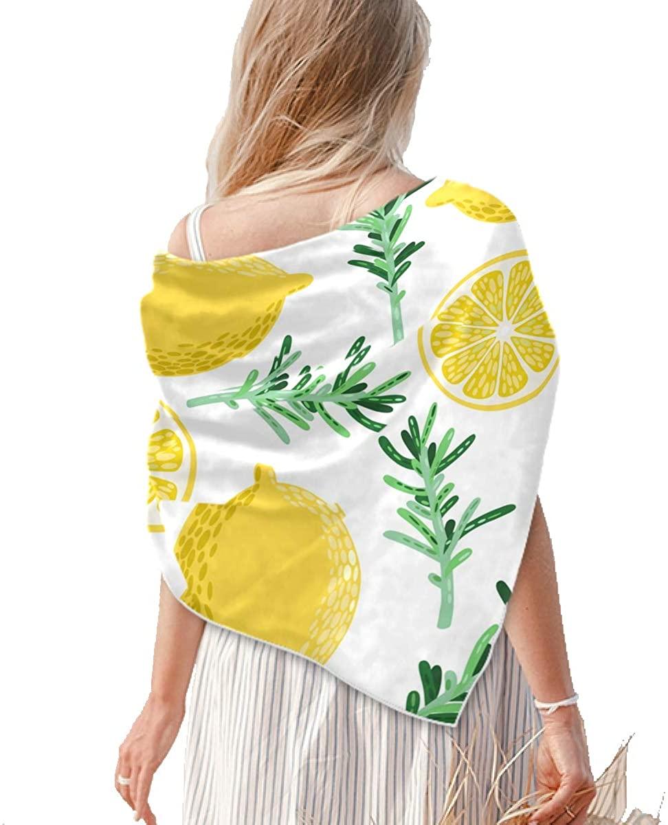 Square Silk Feeling Neckerchief - Womens Large Fruits Lemon Square Scarf Shawl - Lightweight Neckerchief for Hair