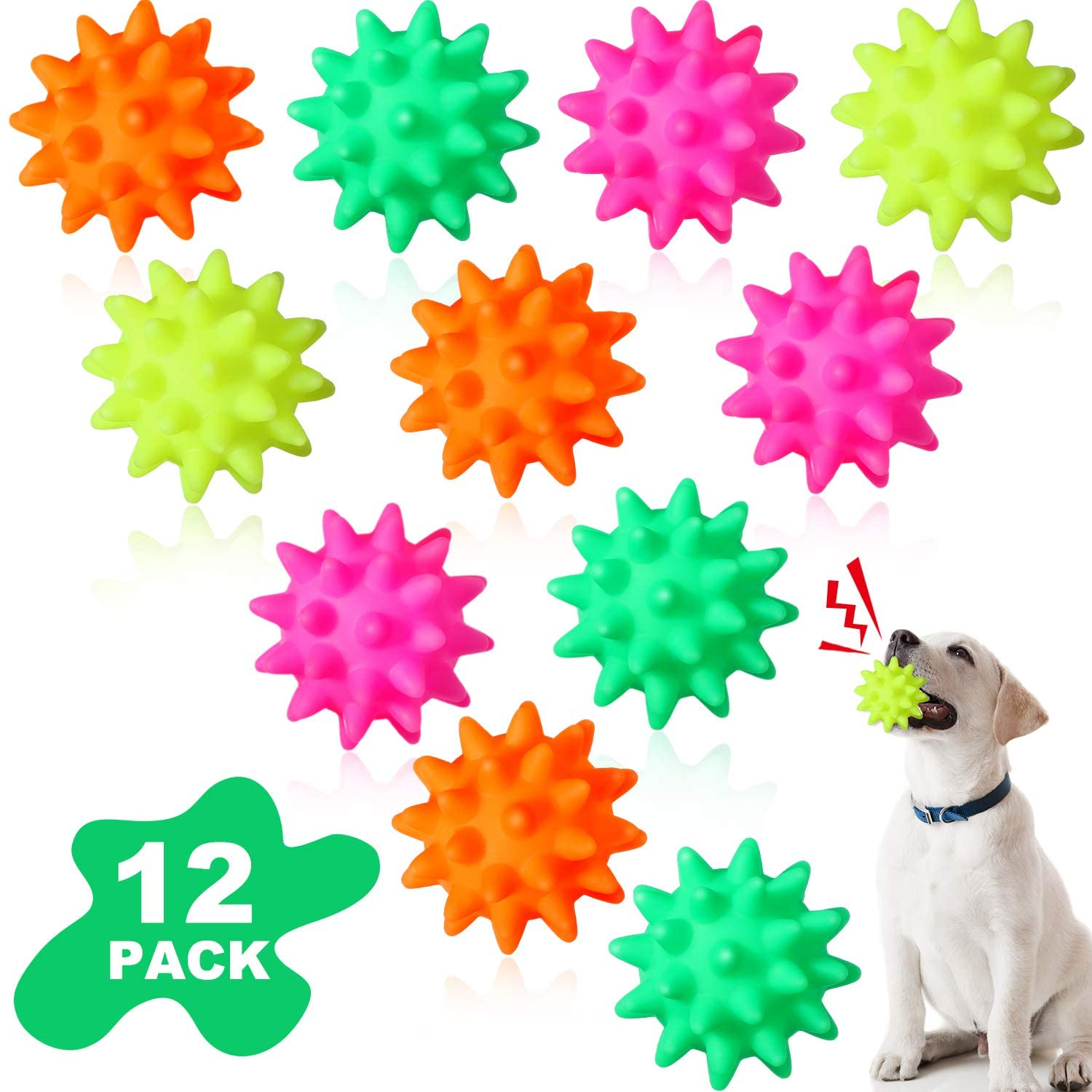 Gejoy 12 Pieces Spiky Pet Ball Squeaker Balls Puppy Toys TPR Dog Chew Ball Bright Color Puppy Teething Toys