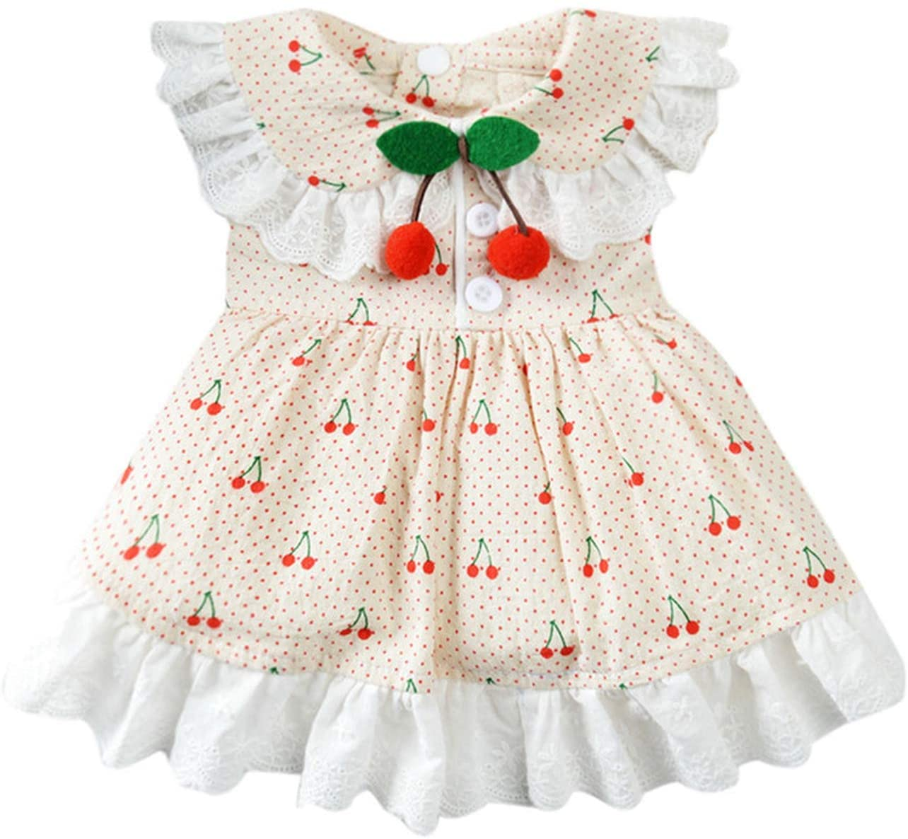 sunnyday-shop Pastoral Cherry Print Dog Dress Pet Vintage Dresses Ruffle Lace Dog Clothes Puppy Small Dog Outfit Pet Clothing