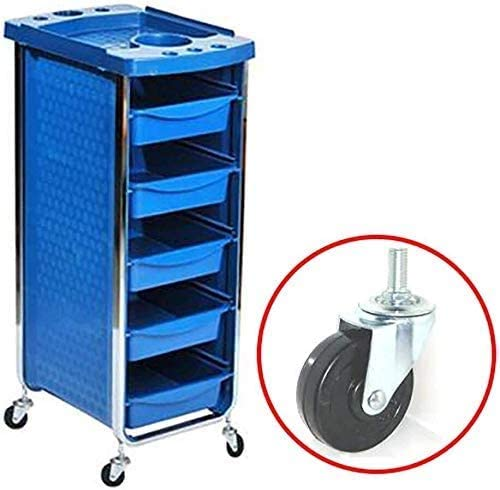 QNN Trolleys,Medical Cart Tool,Utility with Appliance Holder, 6 Tier Beauty Salon Rolling Trolley with Drawer, 20 Kg Capacity,Blue