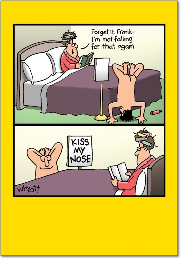 NobleWorks, Kiss My Nose - Hilarious Adult Birthday Greeting Card with Envelope - Funny Romantic Card for Wife, Women - 8347