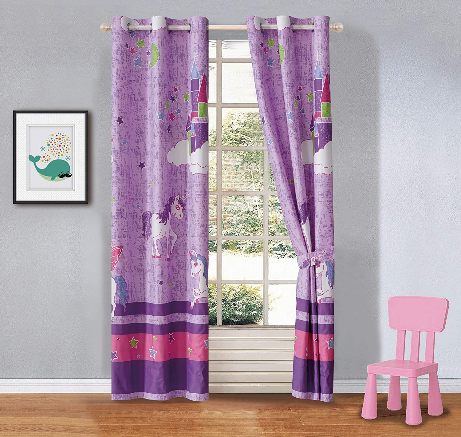 Better Home Style Purple Unicorn Rainbow Stars Printed Fun Multicolors Pink Purple Kids/Girls Room Window Curtain Treatment Drapes 2 Piece Set with Grommets (Unicorn Castle Lavender)
