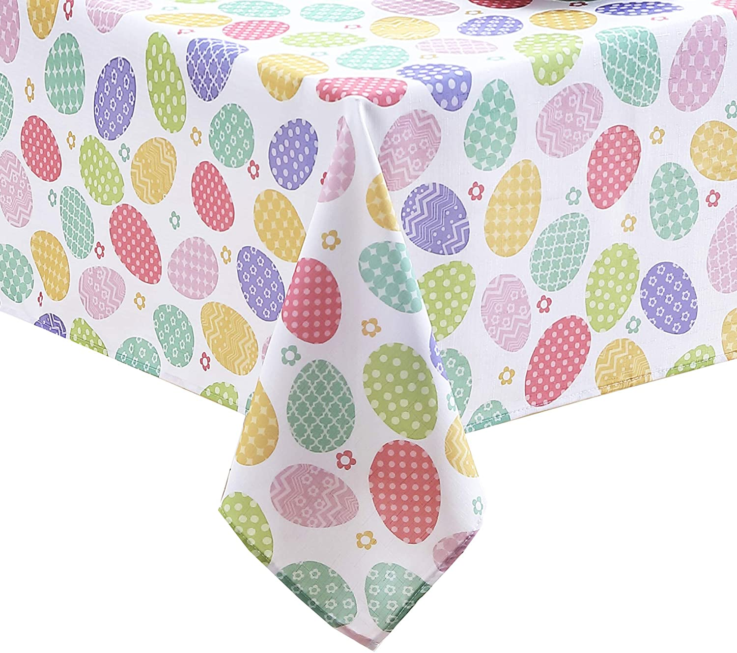 """Newbridge Colored Easter Egg Spring and Easter Fabric Tablecloth - Polka Dot, Zig Zag, Floral Decorated Easter Egg Design Easy Care, Stain Resistant Fabric Tablecloth, 70"""" Round"""