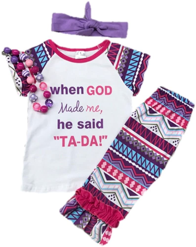 Kids Clothing Toddler Girl Clothes When God Made Me Ruffled Aztec Boutique Capri Outfit