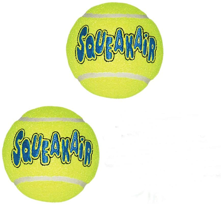 Large (2 Pack) Tennis Ball for Dog Puppy Squeaks Toy Fetch Squeaker