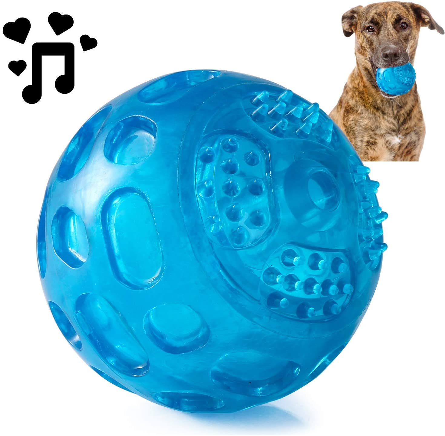 PJDH 3.2 Inch Durable Pet Dog Balls Toys Rubber Squeak Dog Ball Indestructible Dog Toy Ball Interactive Toy