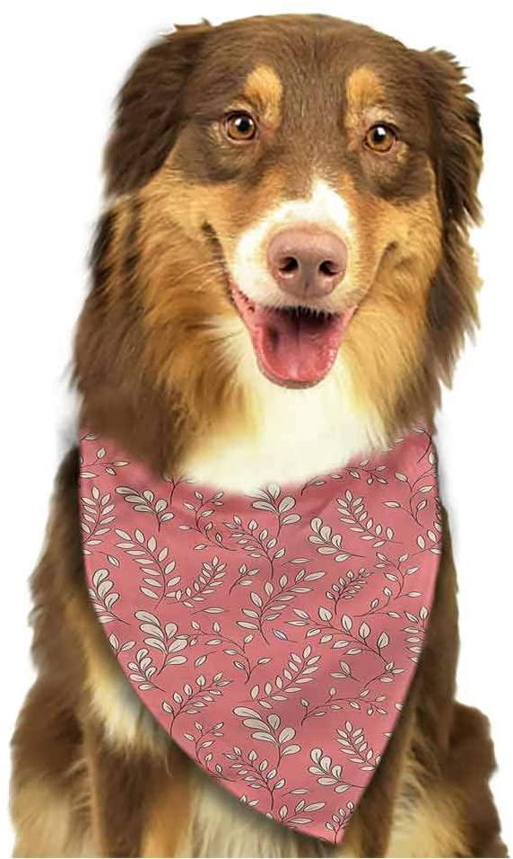 DESPKON-HOME Dog Bandana Coral, Hawaiian Jungle Plants Art Pets Bandanas Accessories Suitable for Small to Large Dogs