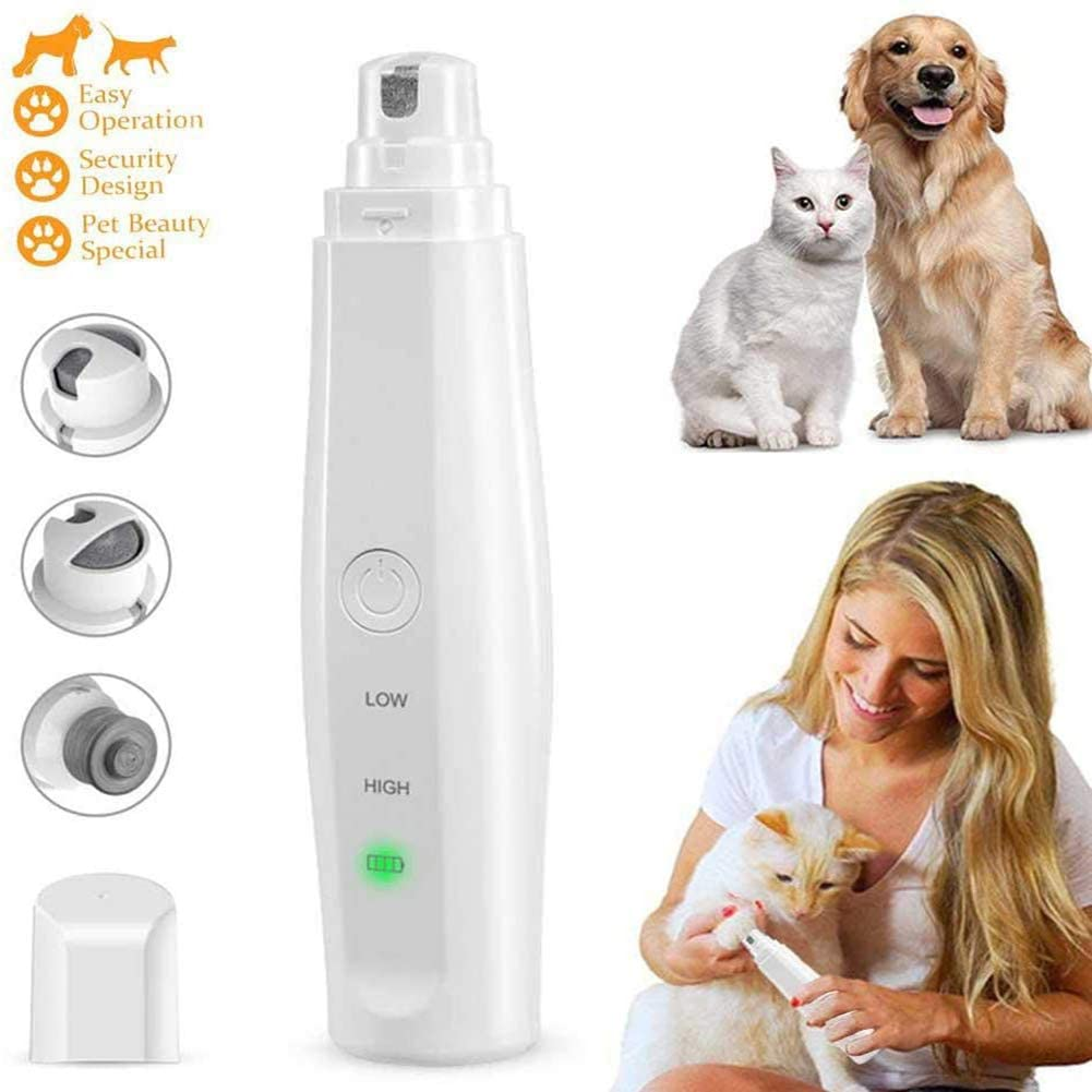 AKL Pet Nail Grinder, Professional 2-Speed Electric Rechargeable Pet Nail Trimmer Painless Paws Grooming & Smoothing for Small Medium Large Dogs & Cats