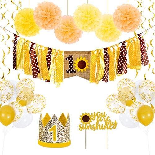 Baby Girl 1st Birthday Decorations set-Baby Girl Sunflower Theme Party Supplies,Sunflower Birthday Banner,Pom Poms Flowers,Latex Balloons,Cake Topper (Sunflower)