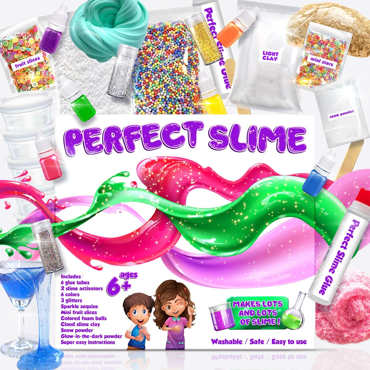 Slime Kit for Awesome Kids – Everything In 1 Box, DIY, All Ages, Clear Slime, Cloud Slime, Glitter, Crunchy, Snow Slime, Glow in Dark, and Gold Slime. Easy Instructions, Perfect Results Every Time