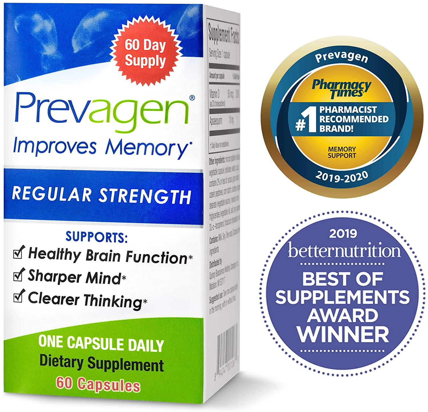 Prevagen Improves Memory - Regular Strength 10mg, 60 Capsules, with Apoaequorin & Vitamin D | Brain Supplement for Better Brain Health, Supports Healthy Brain Function and Clarity | Memory Supplement