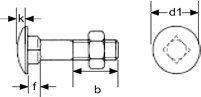 (50pcs) Metric DIN 603 M10X20 Carriage Bolt, Steel 4.6 Steel Plain Finish Ships Free in USA by Aspen Fasteners, ASMM12586