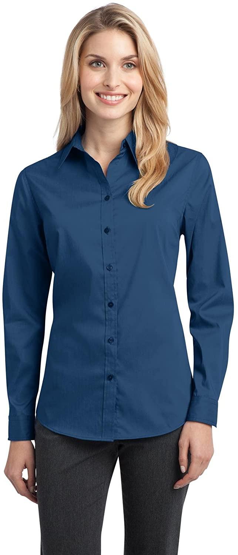 Port Authority Ladies Stretch Poplin Shirt. L646 Moonlight Blue