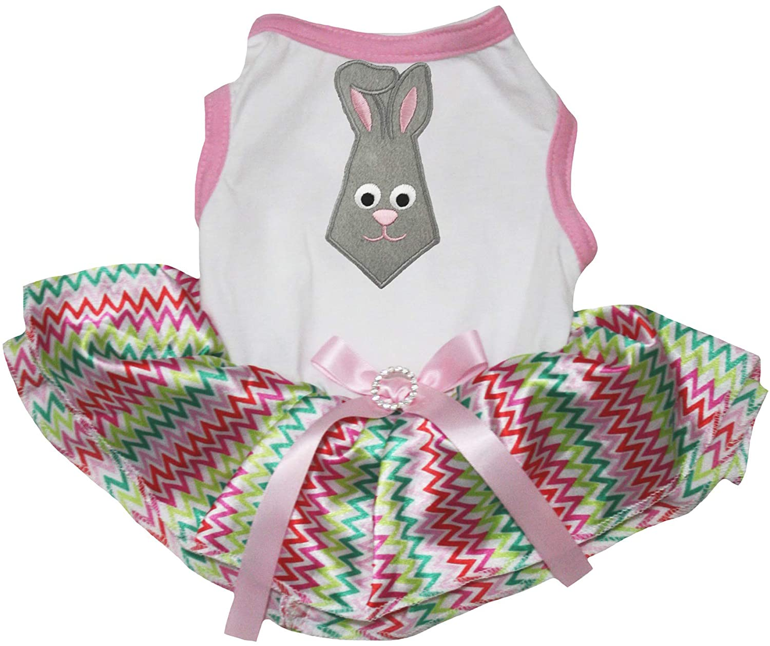 Petitebella Puppy Clothes Dog Dress Easter Bunny Tie White Shirt Chevron Tutu