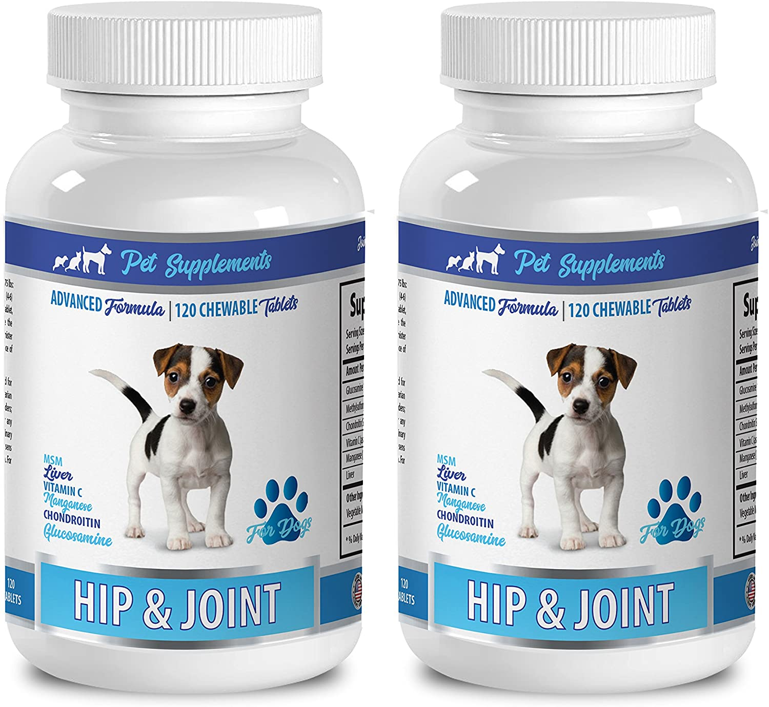Pet Supplements joint chews for large dogs - Hip & Joint Support - For Dogs - Chewable - chondroitin for dogs - 2 Bottle (240 Chewable Tablets)