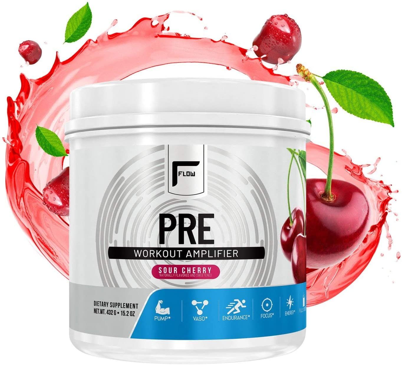 Flow Supplements, Natural Pre-Workout Powder, Naturally Flavored and Sweetened, Workout Amplifier, Pump, Vaso, Endurance, Focus, Energy, Fully Dosed, Sour Cherry, 30 Servings