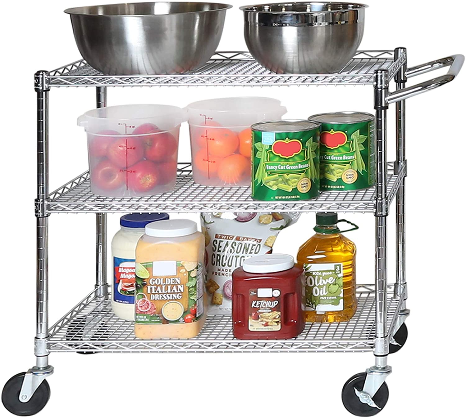 Seville Classics 3-Tier UltraDurable Commercial-Grade NSF-Certifed Storage Utility Service Cart, 34