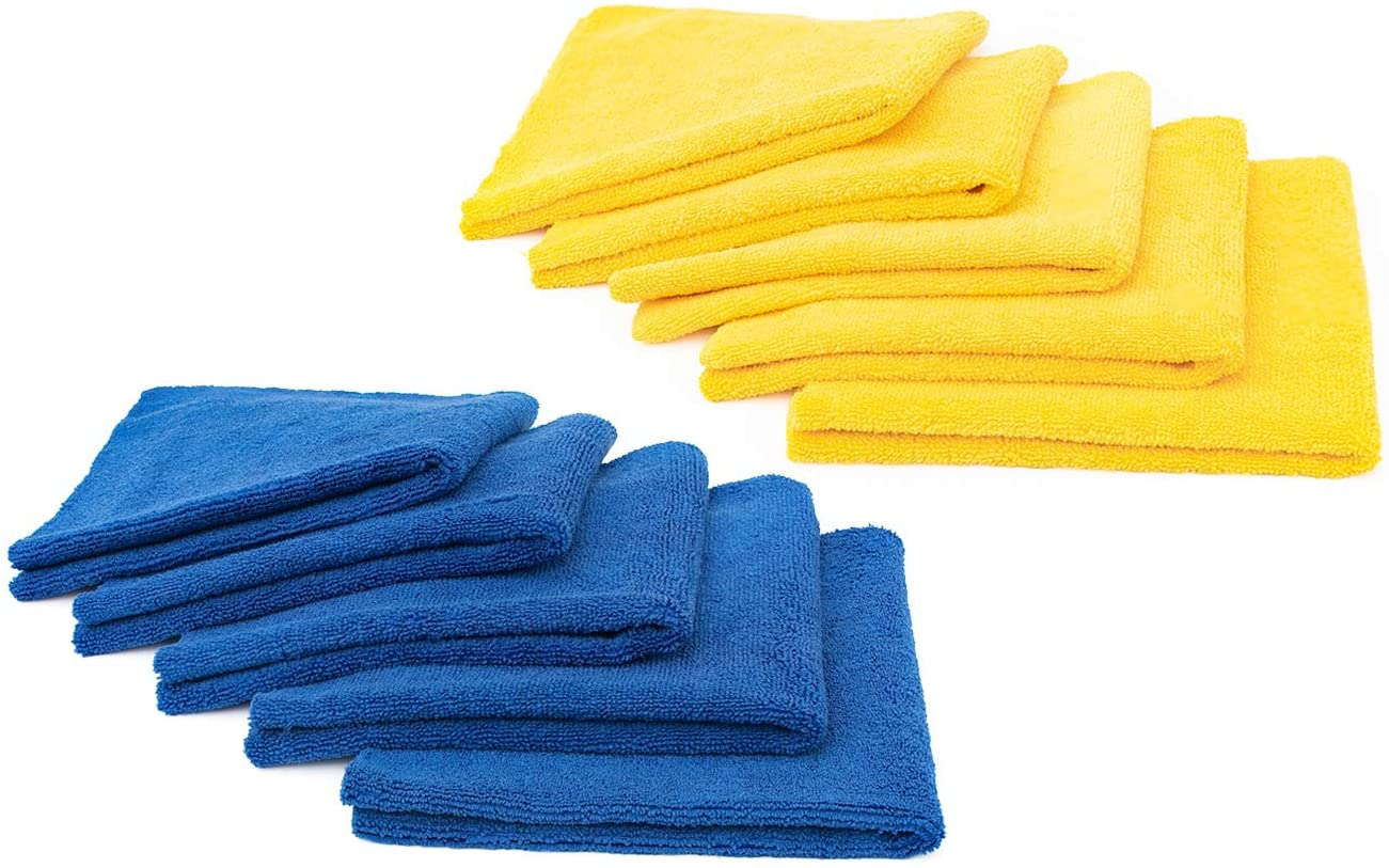 (10-Pack) THE RAG COMPANY 16 in. x 16 in. Professional EDGELESS 365 GSM Premium 70/30 Blend Microfiber POLISHING, Wax Removal and AUTO Detailing Towels