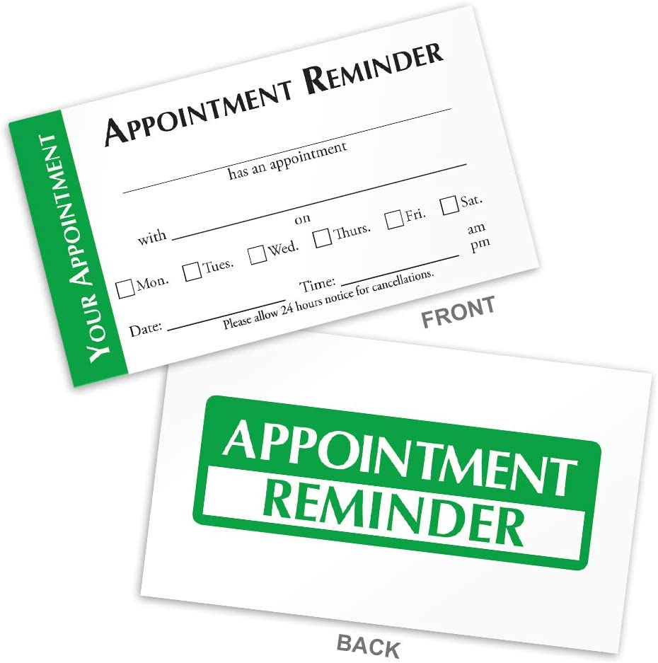 Appointment Reminder Cards for Doctors, Hair Salons, Nail Salons, Pet Groomers, Spa's, Automotive (Green, Box of 100)