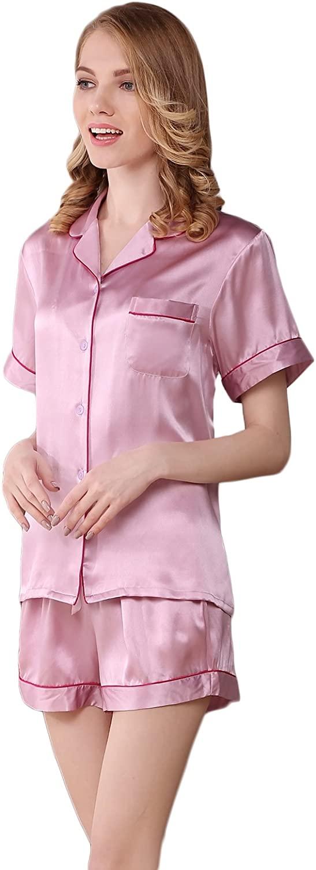 CLC Women's Pure Mulberry Silk Pajama Sleepwear Nightshirt Shorts