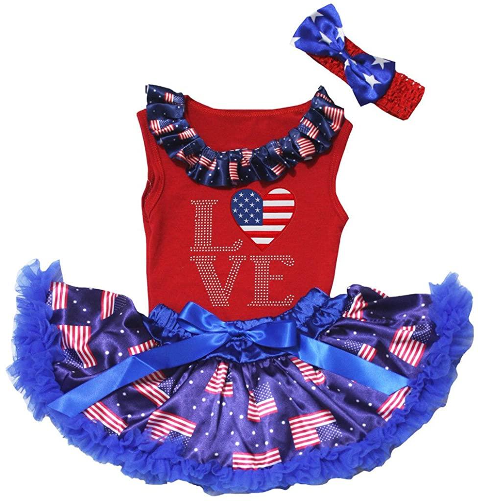 Petitebella Love America Heart Red Shirt US Flag Blue Baby Skirt Set 3-12m