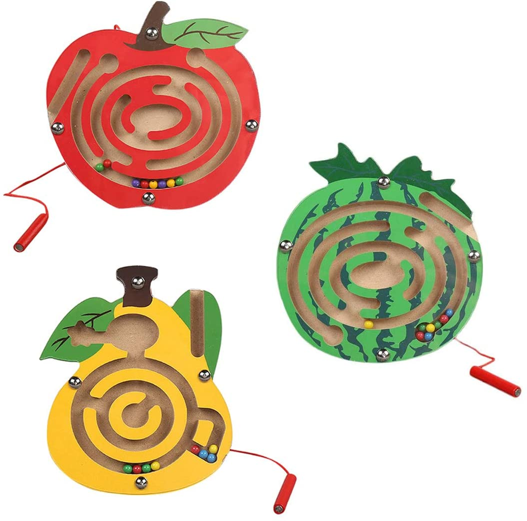 Wooden Fruits Magnetic Maze Toys Montessori Labyrinth STEM Activity Puzzle Fine Motor Skill for Preschool Animals Birthday Party Favor Gift for Boy and Girl - Perfect for 2, 3 and 4 Year Old