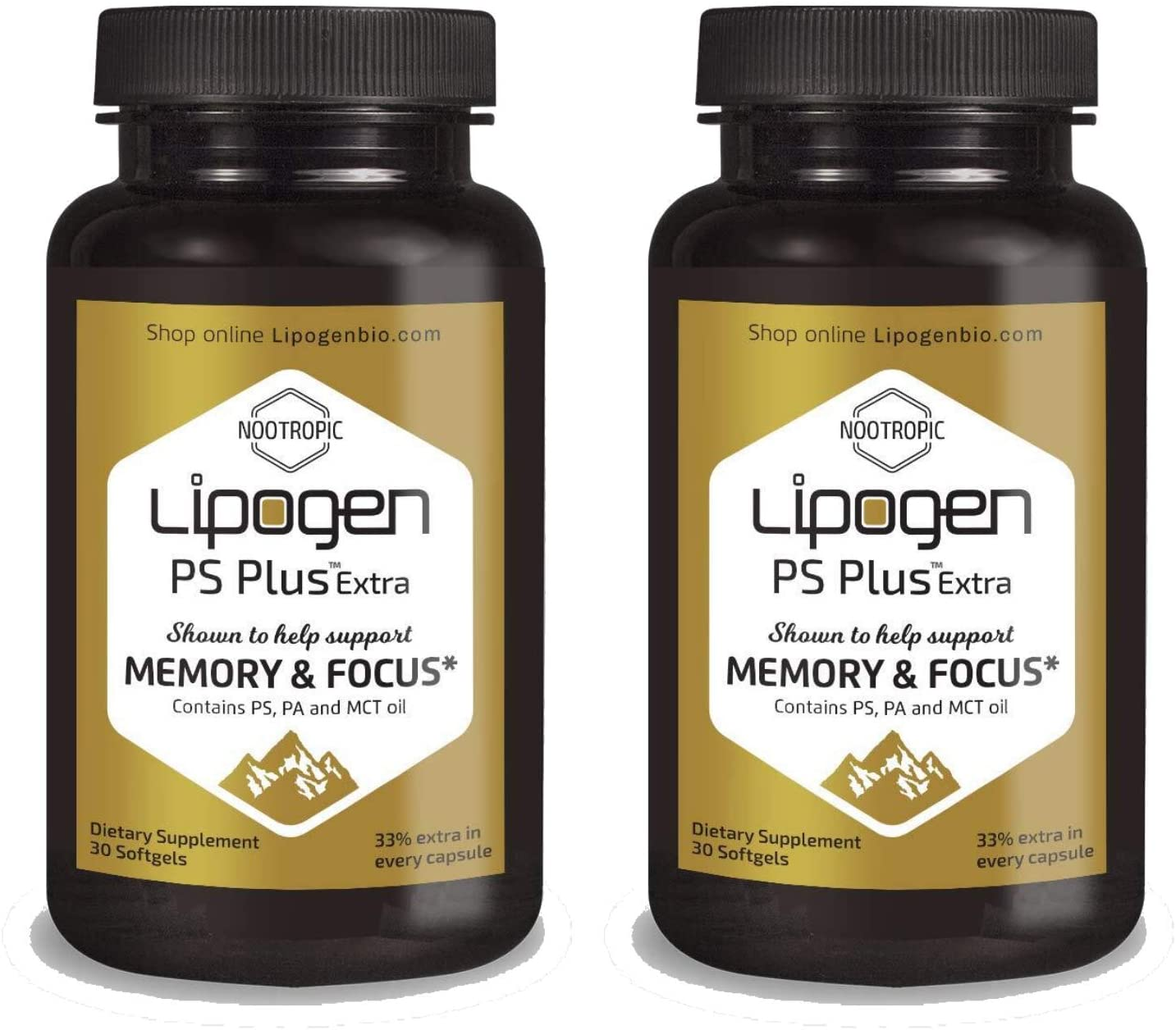 Lipogen PS Plus Extra Focus and Memory Brain Booster Supplement, Clinically Proven Formula, Extra 33% in Every Softgel (2 Pack)