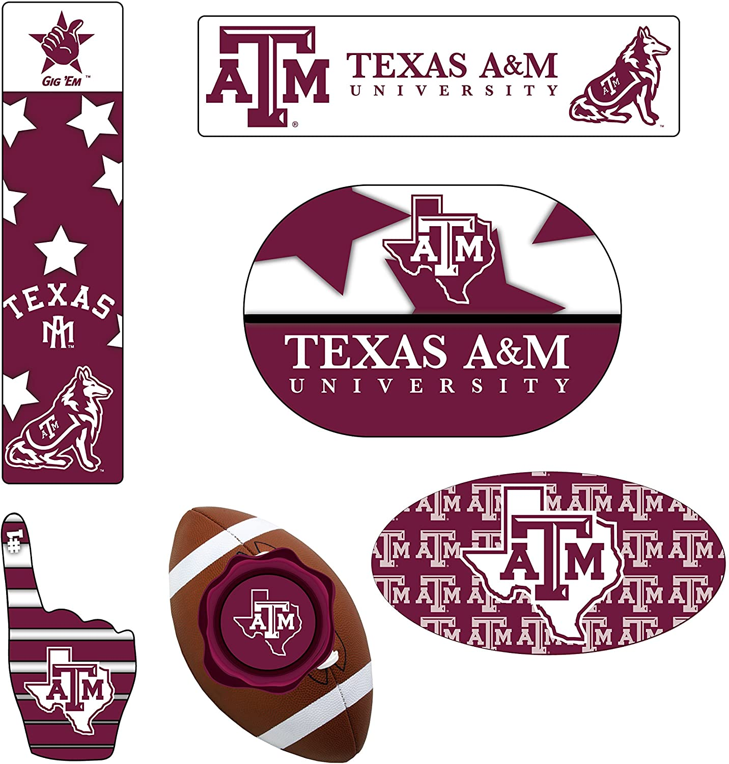 TEXAS A&M AGGIES MAGNET SET-TEXAS A&M AGGIES 6 PACK OF CAR MAGNETS-AWESOME TAILGATE PACK