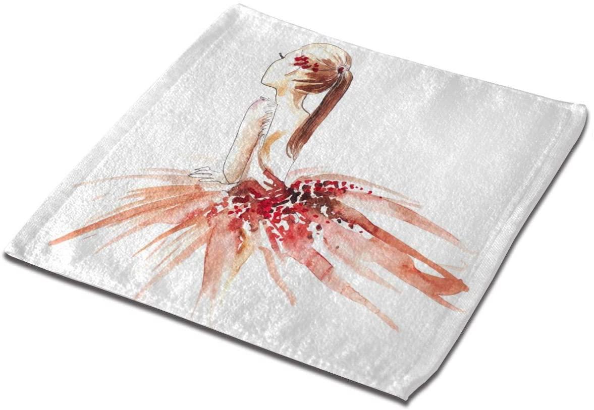 YIXKC Washcloth Towel Watercolor Ballerina Red Square Towel Microfiber Towel Multi-Purpose Face Cloths Unisex Towel Washcloth Hand Towels Kids Bath Washcloths