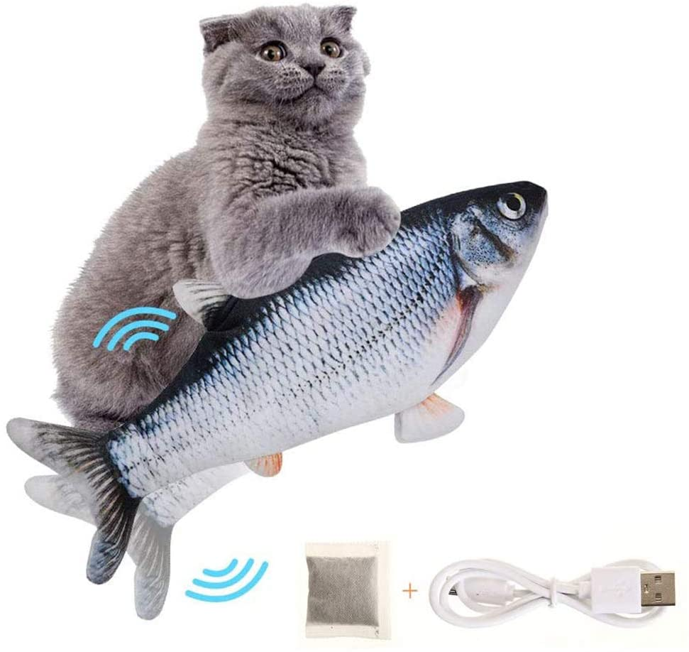 Moving Fish Cat Toy, Electric Flopping Cat Kicker Fish Toy, Catnip Fish Toys for Cats, Zippered Style, Realistic Plush Electric Wagging Fish Toys Simulation Interactive Funny Chew Toy for Indoor Cats