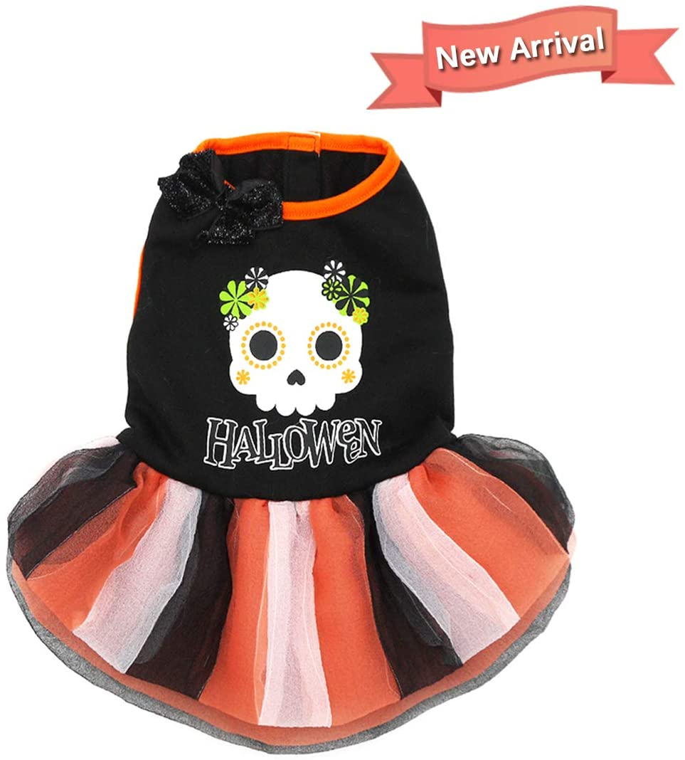 kyeese Christmas Dog Dress for Small Dogs 3-Layer Tutu Dress with Skull Printing Cat Dress Holiday